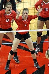 17 October 2015:  Ashley Rosch(15) and Ali Line(1) during an NCAA women's volleyball match between the Southern Illinois Salukis and the Illinois State Redbirds at Redbird Arena in Normal IL (Photo by Alan Look)