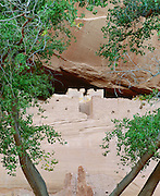 0100-1029 ~ Copyright: George H. H. Huey ~ White House Ruin, Anasazi culture cliff dwelling. Occupied A.D. 1000's - 1200's. With cottonwood trees. Canyon de Chelly National Monument, Arizona.