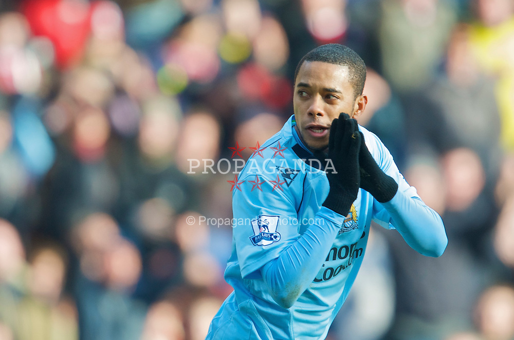STOKE-ON-TRENT, ENGLAND - Saturday, January 31, 2009: Manchester City's Robinho prays for a goal during the Premiership match against Stoke City at the Britannia Stadium. (Mandatory credit: David Rawcliffe/Propaganda)