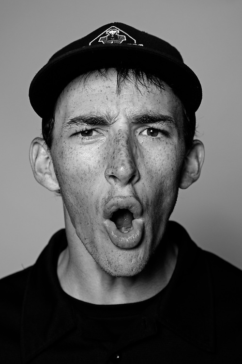 These are portraits of umpires, unmasked. As they call a strike at the Harry Wendelstedt Umpire School in Daytona Beach, Fla.<br />
