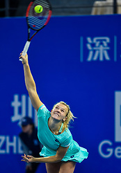 Jan. 5, 2018 - Shenzhen, China - KATERINA SINIAKOVA of the Czech Republic serves during the semi-final match against Maria Sharapova of Russia at the WTA Shenzhen Open tennis tournament in Shenzhen, China. Siniakova won 2:1. (Credit Image: © Mao Siqian/Xinhua via ZUMA Wire)