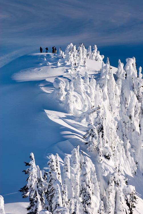 Backcountry skiers on the summit of Huntoon Point, Heather Meadows Recreation Area North Cascades Washington USA