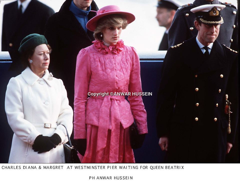 CHARLES  DIANA &amp; MARGRET AT WESTMINSTER PIER WAITING FOR QUEEN BEATRIX OF NETHERLANDS                     <br /><br />                                            PH ANWAR  HUSSEIN