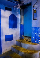 CHEFCHAOUEN, MOROCCO - CIRCA APRIL 2017: Typical door of the streets of Chefchaouen at night.