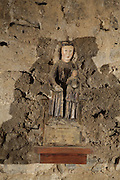 Black Madonna statue, 11th century crypt of the Pessebre dedicated to the Mother of God, the Benedictine Abbey of Saint Michel de Cuxa, Codalet, Pyrenees Orientales, France.  Picture by Manuel Cohen