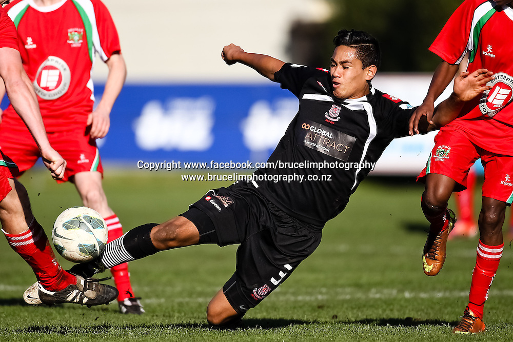 Birkenhead United's Bill Tuiloma during the ASB Chatham Cup soccer quarter final match, Melville United AFC v Birkenhead United AFC at Gower Park, Melville, Hamilton on Saturday 27 July 2013.  Photo:  Bruce Lim / photosport.co.nz