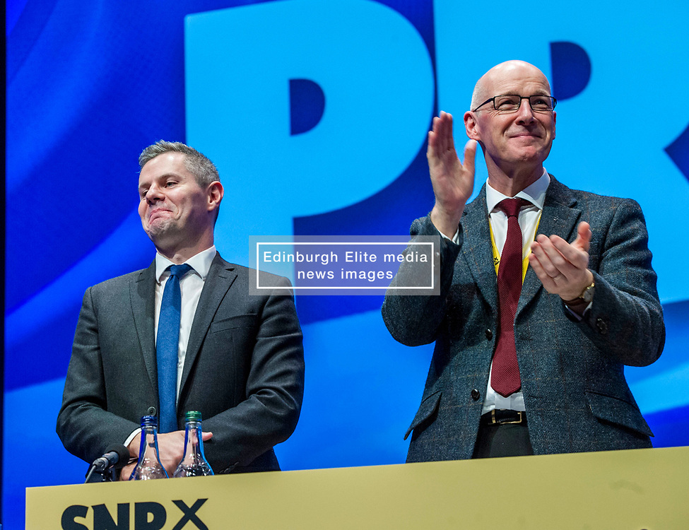 Pictured: Derek Mackay, Cabinet Secretary for Finance and the Constitution and John Swinney, Deputy First Minister<br /> The members of the SNP gathered in the Scottish Events Centre in Glasgow for their annual conference.<br /> <br /> The Ger Harley   EEm 9 October 2017