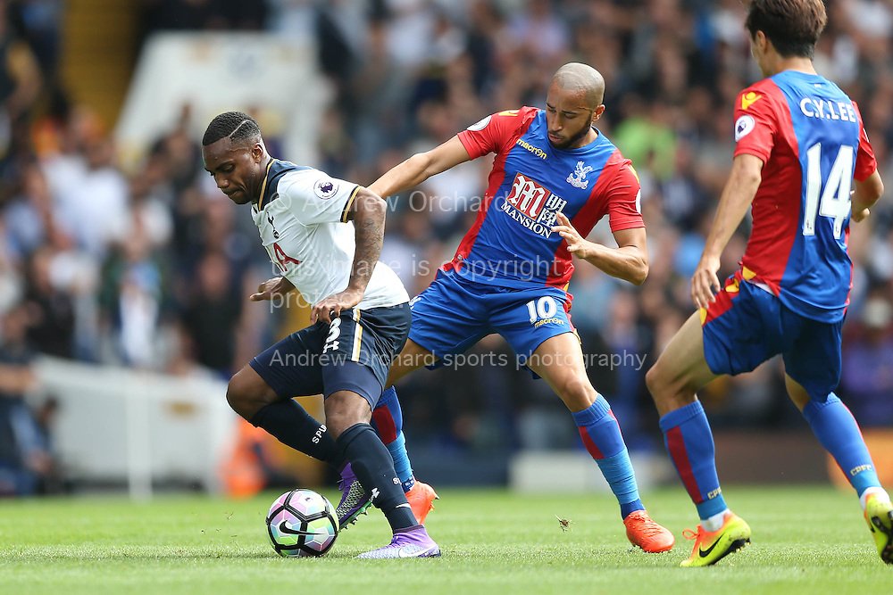 Danny Rose of Tottenham Hotspur blocks the ball from Andros Townsend of Crystal Palace. Premier league match, Tottenham Hotspur v Crystal Palace at White Hart Lane in London on Saturday 20th August 2016.<br /> pic by John Patrick Fletcher, Andrew Orchard sports photography.