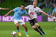 MELBOURNE, VIC - NOVEMBER 09: Melbourne City midfielder Kearyn Baccus (15) controls the ball away at the Hyundai A-League Round 4 soccer match between Melbourne City FC and Wellington Phoenix on November 09, 2018 at AAMI Park in Melbourne, Australia. (Photo by Speed Media/Icon Sportswire)