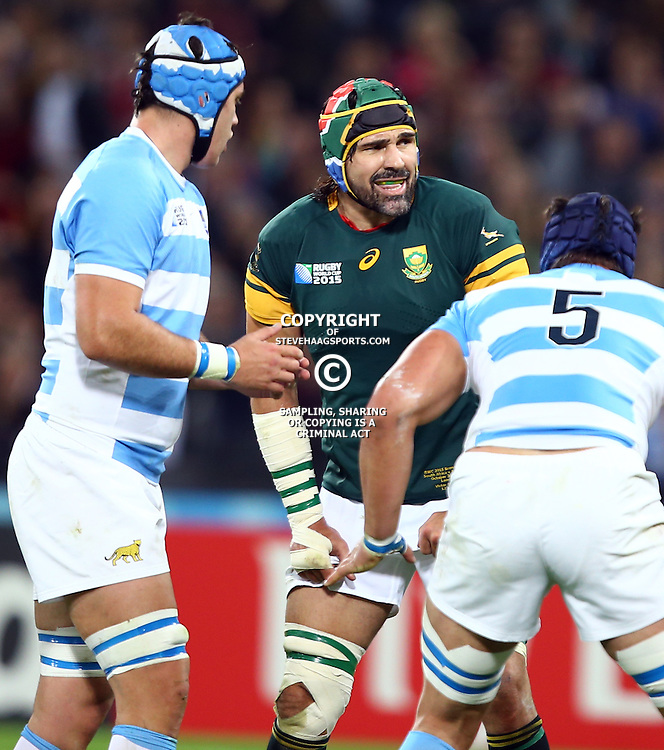 LONDON, ENGLAND - OCTOBER 30: Victor Matfield (captain) of South Africa during the Rugby World Cup 3rd Place Playoff match between South Africa and Argentina at Olympic Stadium on October 30, 2015 in London, England. (Photo by Steve Haag/Gallo Images)