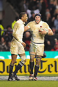 An out of breath James Haskell (R-England) celebrates his second try with Delon Armitage (L) during the RBS 6 Nations Championship match between England and Wales at Twickenham Stadium on February 6, 2010 in London, England.