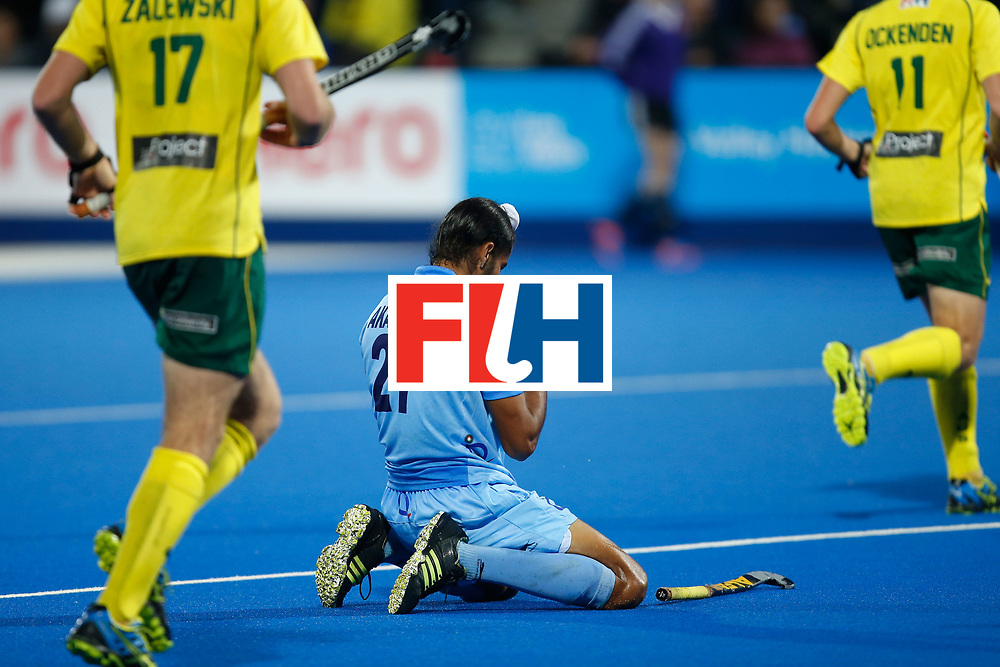 LONDON, ENGLAND - JUNE 17:  Akashdeep Singh of India kneels on the turf after missing a chance during the  FIH Men's Hero Hockey Champions Trophy 2016 final between Australia and India at Queen Elizabeth Olympic Park on June 17, 2016 in London, England.  (Photo by Joel Ford/Getty Images)