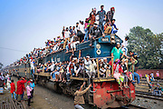 Jan. 10, 2016 - Dhaka, Bangladesh - <br /> <br /> Bishwa Ijtema- The Global Congregation of Muslims<br /> <br /> People gathered in Bishwa Istema which is considered as second largest global muslim congregation after Hajj. They are going back to home by train after pray. <br /> ©Exclusivepix Media