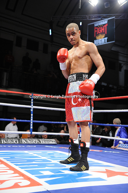 Welterweight Ahmet Patterson (pictured) defeats Wayne Downing at York Hall, Bethnal Green, London on the 19th February 2011. Frank Warren Promotions. Photo credit © Leigh Dawney.