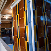 """February 27, 2013 - New York, NY : American chef and restaurateur Andrew Carmellini plans to open """"Lafayette,"""" an expansive French restaurant and bakery, at 380 Lafayette Street in NoHo, in April. Pictured here, the columns bear blue, yellow, and ochre tiles. CREDIT: Karsten Moran for The New York Times"""