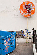 Dumpster, Graffiti, Bicycle, Korean Signs, Koreatown Los Angeles, California, copyright 2011 by David Leland Hyde.