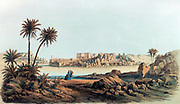 View of Philae'. Lithograph after Karl Richard Lepsius (1810-1884) Prussian Egyptologist.  View across the Nile to the temples on the island of Philae.  Archaeology Religion Mythology Ancient Egyptian