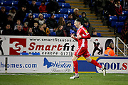 Scunthorpe Utd forward Lee Novak (17) celebrates his second goal 0-2 during the EFL Sky Bet League 1 match between Peterborough United and Scunthorpe United at London Road, Peterborough, England on 1 January 2019.