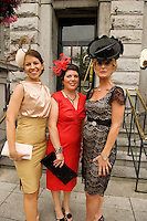 Patricia Carthy Dublin, Eta Lydon from Annaghdown and Sinead Purcell, Kilcolgan  at Hotel Meyrick in Eyre Sq. Galway for their best dressed Lady Competition during Galway's Race week . Photo:Andrew Downes