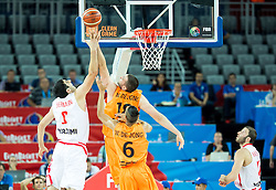 Giorgi Shermadini of Georgia vs Nicolas de Jong of Netherlands during basketball match between Georgia and Netherlands at Day 1 in Group C of FIBA Europe Eurobasket 2015, on September 5, 2015, in Arena Zagreb, Croatia. Photo by Vid Ponikvar / Sportida