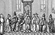 Peter the Hermit (c1050-.1115) French monk, presenting Urban II (Pope 1088-1099) with a petition on his return from pilgrimage to the Holy Land, 1094. Urban commissioned Peter to preach the First Crusade. Engraving