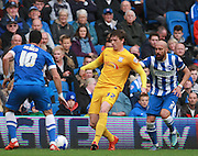 Preston North End midfielder Adam Reach shields the ball from Brighton defender Bruno Saltor during the Sky Bet Championship match between Brighton and Hove Albion and Preston North End at the American Express Community Stadium, Brighton and Hove, England on 24 October 2015. Photo by Bennett Dean.