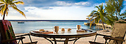 Coffee at sunrise from the beach suite, Carib Sands hotel, Cayman Brac.