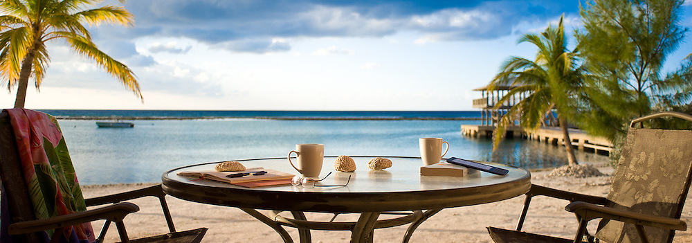 Coffee at sunrise from the beach suite, Carib Sands hotel, Cayman Brac.