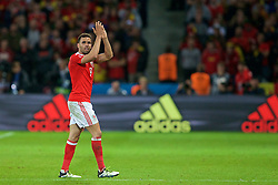 LILLE, FRANCE - Friday, July 1, 2016: Wales' Hal Robson-Kanu applauds the supporters as he leaves the field following his substitution during the UEFA Euro 2016 Championship Quarter-Final match against Belgium at the Stade Pierre Mauroy. (Pic by Paul Greenwood/Propaganda)