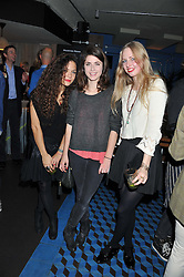 Left to right, LILY BERTRAND-WEBB, SIOBHAN SPENCE-EDWARDS and ITHAKA RODDAM at a Mexican Feast cooked by Thomasina Miers in aid of the charity Too Many Women held at Wahaca Soho, 80 Wardour Street, London on 9th November 2011.