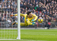 Football - 2017 / 2018 Premier League - Tottenham Hotspur vs. Arsenal<br /> <br /> Hugo Lloris (Tottenham FC) with his only save of the game at Wembley Stadium.<br /> <br /> COLORSPORT/DANIEL BEARHAM
