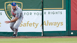 July 7, 2017 - Jupiter, Florida, U.S. - St. Lucie Mets Tim Tebow chases after a ball that got away from him in the corner during game against the Jupiter Hammerheads at Roger Dean Stadium in Jupiter, Florida on July 7, 2017. (Credit Image: © Allen Eyestone/The Palm Beach Post via ZUMA Wire)