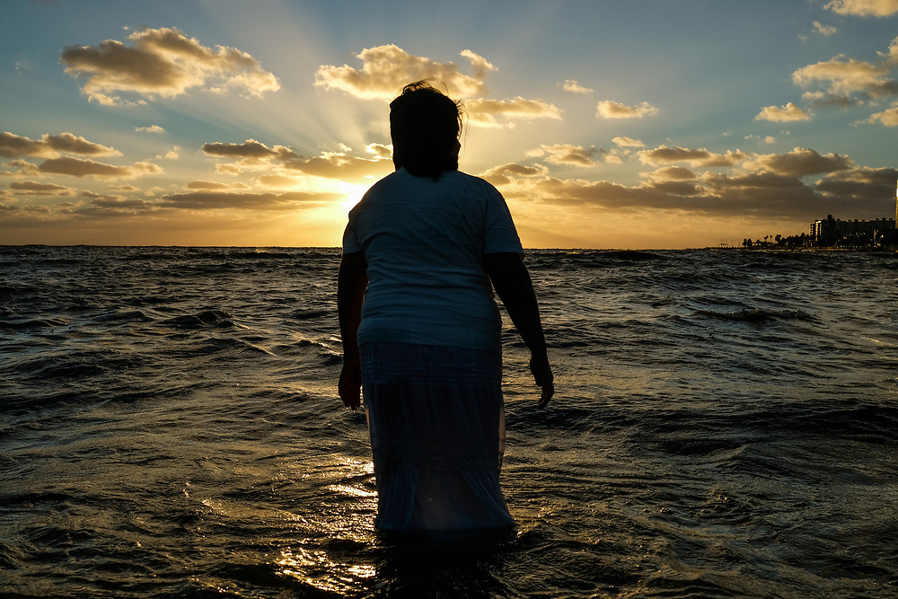 Iemanja Day, Montevideo - Uruguay 2019<br /> Photography by Aaron Sosa<br /> <br /> Every February 2 is celebrated the day of Iemanjá, is the day when the beaches of Montevideo become a temple. Thousands of believers from all over the city flock to the beaches to pay homage to the sea goddess.