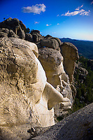 The faces of Thomas Jefferson and Abraham Lincoln from the top of George Washington's head on Mt. Rushmore, Mount Rushmore National Memorial, Black Hills, South Dakota USA