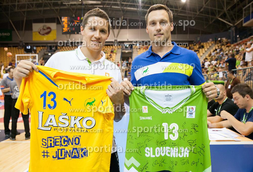 Jaka Lakovic of Slovenia and Luka Zvizej during friendly match between National teams of Slovenia and Serbia for Eurobasket 2013 on August 3, 2013 in Arena Zlatorog, Celje, Slovenia. (Photo by Vid Ponikvar / Sportida.com)