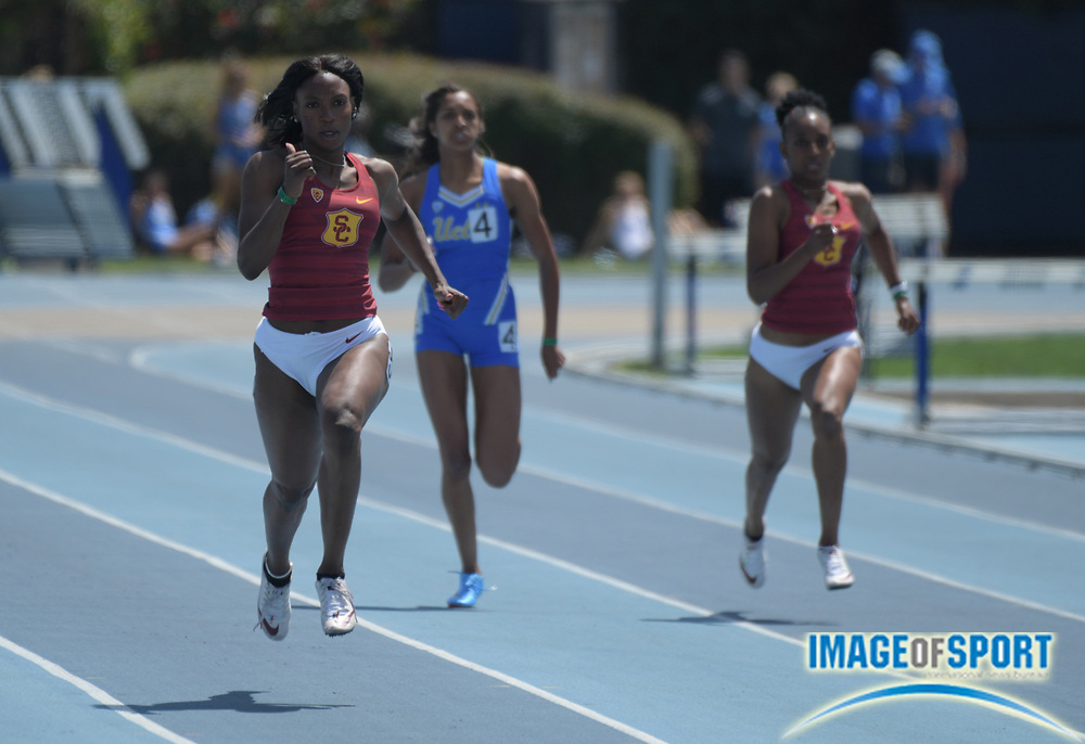 e0e7b61fb Anglerne Annelus aka Angie Annelus of Southern California wins the women s  200m in 22.89 during a.