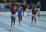 Anglerne Annelus aka Angie Annelus of Southern California wins the women's 200m in 22.89 during a collegiate dual meet against UCLA at Drake Stadium in Los Angeles, Sunday, April 29, 2018.
