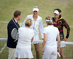 LONDON, ENGLAND - Tuesday, June 29, 2010: Anna Kournikova (RUS) and Martina Hingis (SUI) before the Ladies' Invitation Doubles match on day eight of the Wimbledon Lawn Tennis Championships at the All England Lawn Tennis and Croquet Club. (Pic by David Rawcliffe/Propaganda)
