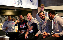 Michael Vigor, Brandon Boggs, Jordan Nichols, Leslee Smith, Panos Mayindombe, Rohndell Goodwin and Adam Weary of Bristol Flyers take part in the 2017/18 season launch event at Ashton Gate - Mandatory by-line: Robbie Stephenson/JMP - 11/09/2017 - BASKETBALL - Ashton Gate - Bristol, England - Bristol Flyers 2017/18 Season Launch