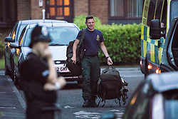 © Licensed to London News Pictures . 25/07/2017 . Oldham , UK . Scene where an armed siege that began at 3.15am on Tuesday 25th July in a house on Pemberton Way in Shaw , is ongoing . A man named locally as Marc Schofield is reported to be holding a woman hostage after earlier releasing two children . The gas supply in the area has been cut off and several neighbouring properties have been evacuated . Photo credit : Joel Goodman/LNP