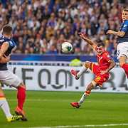 PARIS, FRANCE - September 10: Lucas Digne #3 of France and Jesús Rubio #18 of Andorra challenge for the ball during the France V Andorra, UEFA European Championship 2020 Qualifying match at Stade de France on September 10th 2019 in Paris, France (Photo by Tim Clayton/Corbis via Getty Images)