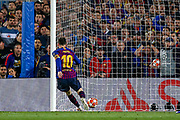 Goal Barcelona forward Lionel Messi (10) scores a goal 2-0 during the Champions League semi-final leg 1 of 2 match between Barcelona and Liverpool at Camp Nou, Barcelona, Spain on 1 May 2019.