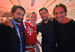 "17.05.2014, T Com, Berlin, GER, DFB Pokal, Bayern Muenchen Pokalfeier, im Bild Bastian Schweinstieger of FC Bayern Muenchen celebrates with the guest Bastian Schweinstieger, // during the FC Bayern Munich ""DFB Pokal"" Championsparty at the T Com in Berlin, Germany on 2014/05/17. EXPA Pictures © 2014, PhotoCredit: EXPA/ Eibner-Pressefoto/ EIBNER<br /> <br /> *****ATTENTION - OUT of GER*****"