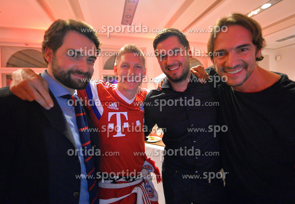 17.05.2014, T Com, Berlin, GER, DFB Pokal, Bayern Muenchen Pokalfeier, im Bild Bastian Schweinstieger of FC Bayern Muenchen celebrates with the guest Bastian Schweinstieger, // during the FC Bayern Munich &quot;DFB Pokal&quot; Championsparty at the T Com in Berlin, Germany on 2014/05/17. EXPA Pictures &copy; 2014, PhotoCredit: EXPA/ Eibner-Pressefoto/ EIBNER<br /> <br /> *****ATTENTION - OUT of GER*****