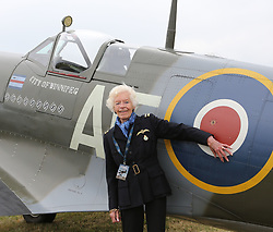 Aug. 18, 2015 - Biggin Hill, United Kingdom - 18/08/2015. Biggin Hill, United Kingdom. .Mary Ellis one of the last surviving ATA pilot who ferried planes around Great Britain at Biggin Hill airfield in Kent. World War II aircraft including 18 Spitfires and six Hurricanes flew over southeast England to mark the 75th anniversary of the 'hardest day' of the Battle of Britain. August 18, 1940, became known as the 'hardest day' of the Battle of Britain. (Credit Image: © I-Images/i-Images via ZUMA Wire)