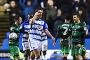 Red Card - Yann Kermorgant (18) of Reading is shown a red card, sent off by referee David Coote and makes a gesture as if the decision was crazy during the EFL Sky Bet Championship match between Reading and Queens Park Rangers at the Madejski Stadium, Reading, England on 30 March 2018. Picture by Graham Hunt.