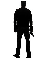 one man killer policeman holding gun silhouette rear view studio white background