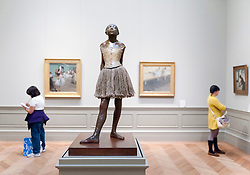 Sculpture the Little Fourteen Year Old  Dancer by Degas at Metropolitan Museum of Art in Manhattan , New York City, USA