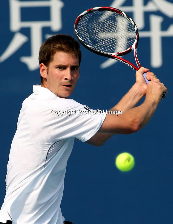 Oct 06, 2009, Beijing, China, James Blake of USA defeats Florian Mayer of Germany 2:1 in the first round of China Open at the National Tennis Center.