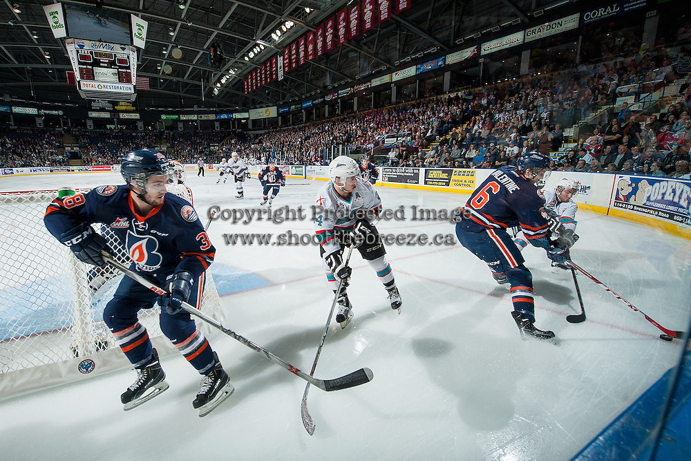KELOWNA, CANADA - APRIL 1: Dillon Dube #19 and Tyson Baillie #24 of Kelowna Rockets checks Dallas Valentine #6 and Dawson Davidson #38 of Kamloops Blazers during first period on April 1, 2016 at Prospera Place in Kelowna, British Columbia, Canada.  (Photo by Marissa Baecker/Shoot the Breeze)  *** Local Caption *** Dillon Dube; Tyson Baillie; Dallas Valentine; Dawson Davidson;